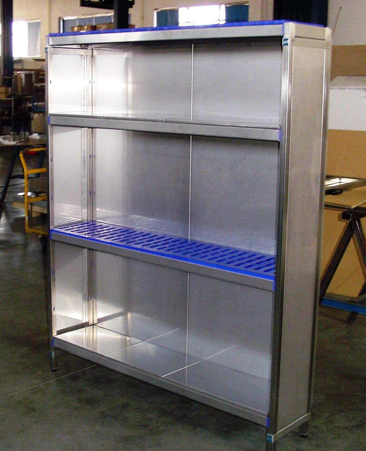 estanterias de acero inoxidable con estante liso o perforado