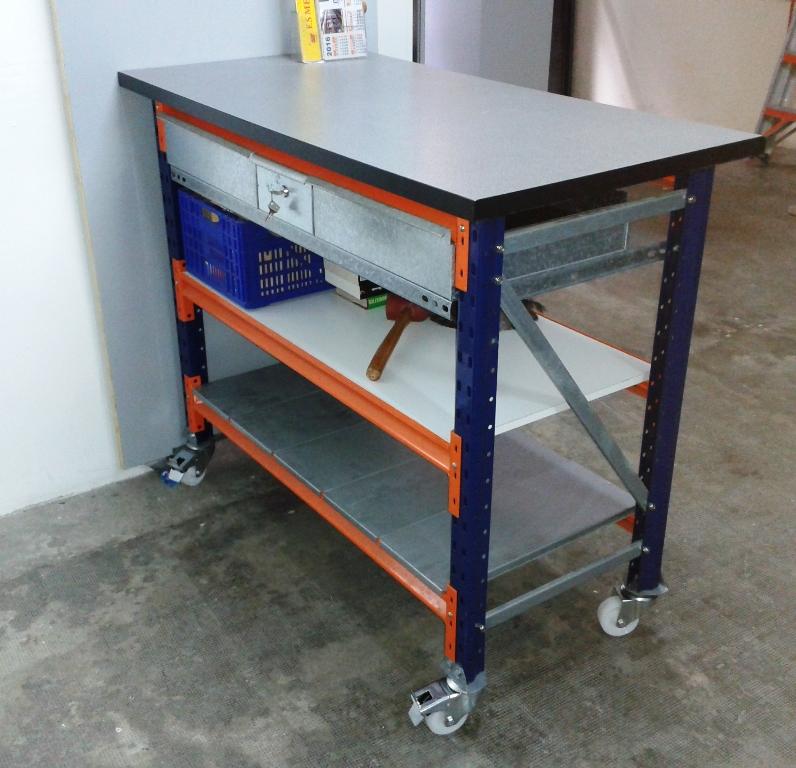 Mesas con encimera estanterias met licas esme - Mesa de trabajo con ruedas ...