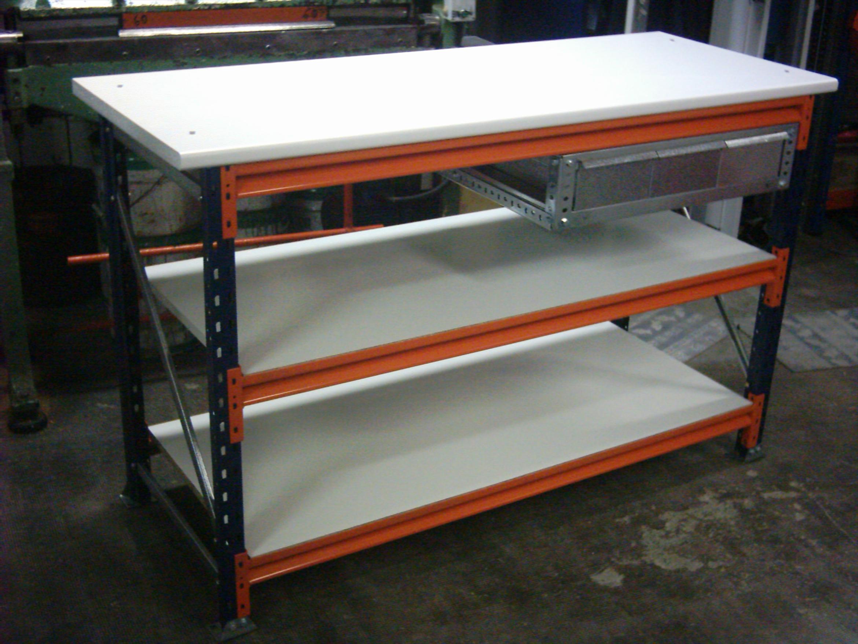 Mesas con cajones estanterias met licas esme for Pedestales metalicos para mesas