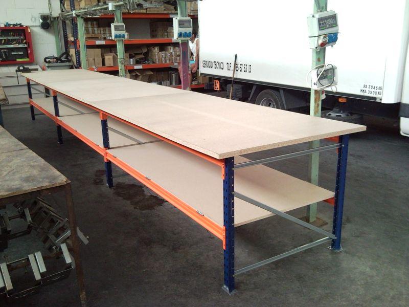 Mesas robustas estanterias met licas esme for Pedestales metalicos para mesas