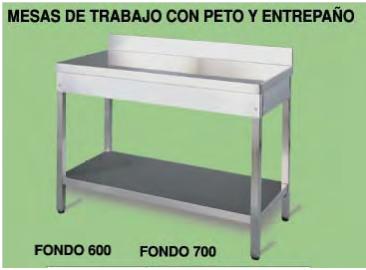 Mesas de acero Inoxidable para cocina con peto y mesas de acero ...